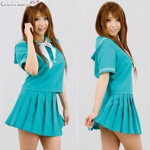 夏季日系綠色校服套裝