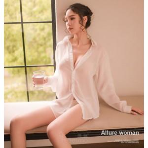 開襟襯衫-情趣襯衣-白
