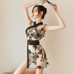 花花魁玲瓏日系浴衣和服-黑色