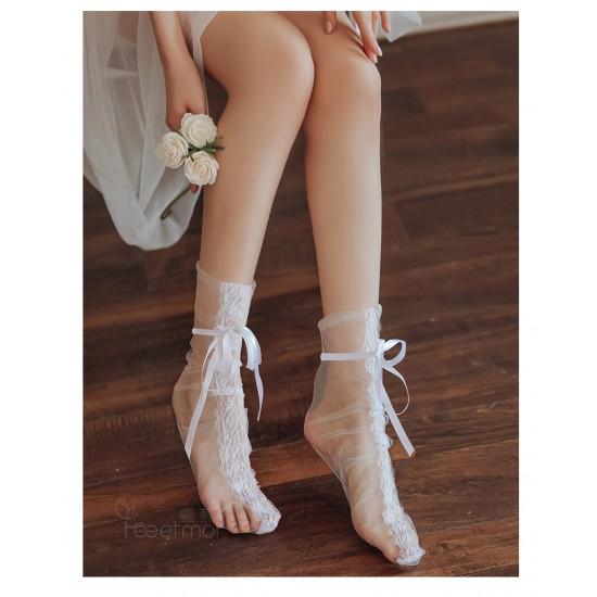 性感蕾絲網紗透視捆綁絲襪-白色