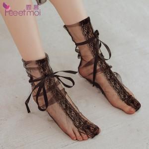 性感蕾絲網紗透視捆綁絲襪-黑色