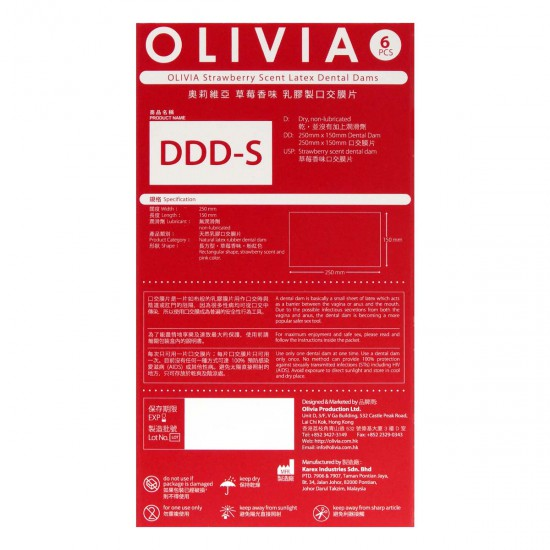 Olivia Strewberry Scent 6's Pack Latex Dental Dam