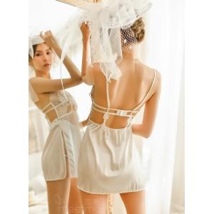 霏慕 睫毛蕾絲側身開衩激情性感睡裙套裝-白色
